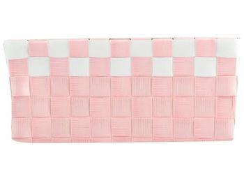 Cos impletit 19X14X8cm roz cu alb, plastic