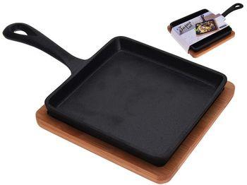 Сковорода чугунная +деревянная подставка EH 14X14cm