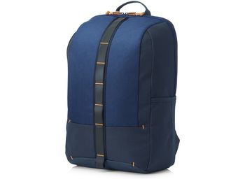 HP Commuter Backpack (Blue), sporty zip-up backpack, Padded, air-mesh shoulder straps, A water-resistant coating on the bottom, Reflective accents for safety.