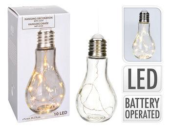 """Lampa suspendata """"Bec cu baza"""" 10LED D9cm, H19cm, cu carlig"""