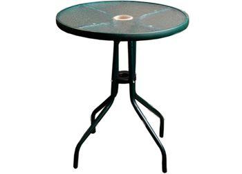 Стол металл/стекло D86сm, черный