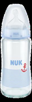 купить Бутылочка стеклянная NUK FC с силиконовой соской 240 мл (0-6 мес) голубая в Кишинёве