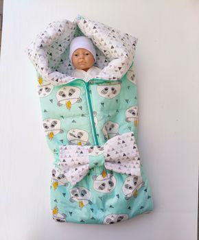 Конвертик трансформер для новорожденных PAMPY Panda мятный цвет