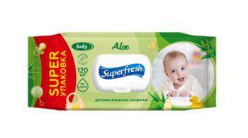 Влажные салфетки Super Fresh Aloe для детей и мам, с клапаном, 120 шт.