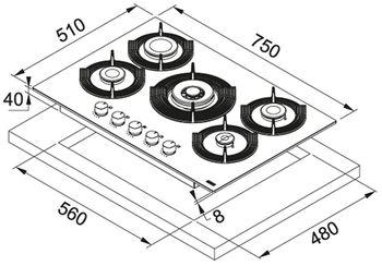 Газовая панель Franke FHMF 755 4G DC C BK