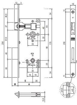 Замок WC AGB Patent Grande + oтветная планка полированная никель