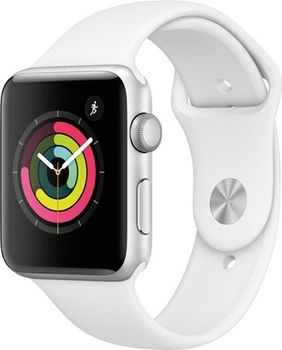 Apple Watch Series 3 42mm Smartwatch (GPS Only, Silver Aluminum Case, White Sport Band)