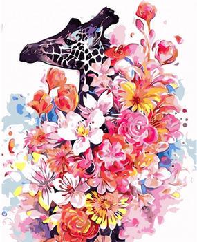 Картина по номерам 40x50 Жираф в цветах VA0725