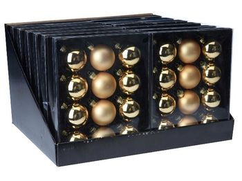 Набор шаров 12X57mm, 4матов, 8глянц, золотых, в коробке
