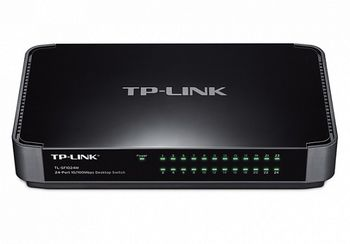 TP-LINK TL-SF1024M  24-port Desktop Switch, 24 10/100M RJ45 ports, Green Ethernet, plastic case