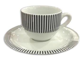 купить Чашка кофейная с блюдцeм Capri 75ml, в полоску в Кишинёве