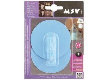 Крючки самоклеющиеся 2шт круг 8cm, светло-голуб, пластик