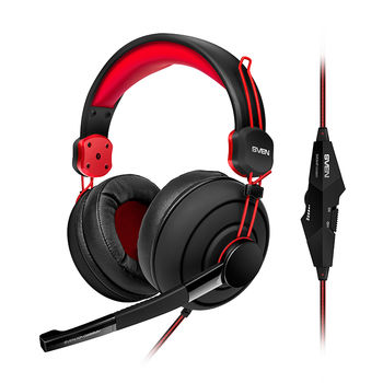 SVEN AP-G888MV, Gaming Headphones with microphone, 3.5 mm (4 pin) or 2*3.5 mm (3 pin) stereo mini-jack (connector for PC), volume control on the cable, Non-tangling cable with fabric braid, Cable length: 2.2m, Black/Red