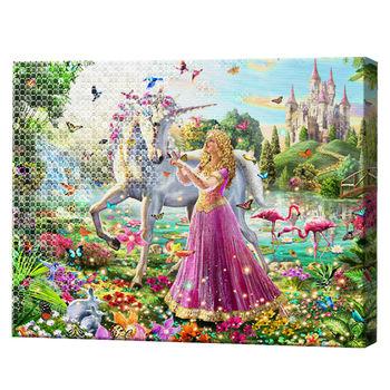 Принцесса и единорог, 40x50 см, комбо-набор для росписи номеров + алмазная мозаика, YHDGJ72014
