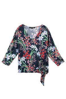 Блуза TOP SECRET Темно синий с принтом sbd0979