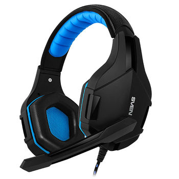 SVEN AP-G851MV Black-Blue, Gaming Headphones with microphone, 2*3.5 mm (3 pin) stereo mini-jack, Non-tangling cable with fabric braid, Volume control, Cable length: 2.2m