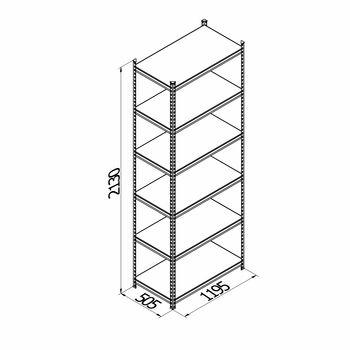 cumpără Raft metalic galvanizat cu placă din plastic Gama Box  1195Wx505Dx2130H mm, 6 polițe/PLB în Chișinău