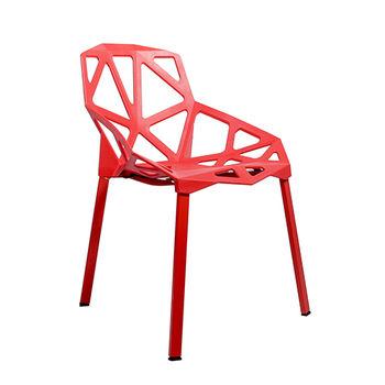 cumpără Scaun împletit din plastic, picioare din aluminiu, 570x540x800 mm, roşu în Chișinău