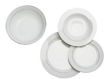 купить Набор посуды Olimpia 19ед, белый, серебряная кайма в Кишинёве