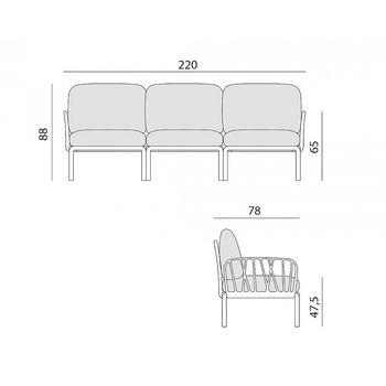 Диван с подушками Nardi KOMODO 3 POSTI ANTRACITE-ghiaccio Sunbrella (Диван на 3 места с подушками для сада и терас)