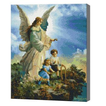 Ангел-хранитель двух малышей, 40x50 см, алмазная мозаика QA204447