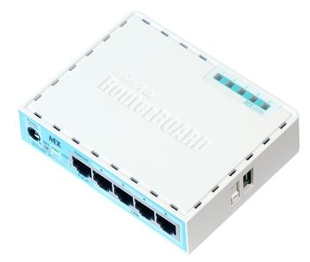 MikroTik RouterBOARD hEX NEW,  Wired Router, 5 Gigabit LAN ports, CPU QCA9556 880 MHz, RAM 256MB, USB, Support PoE in, Voltage Monitor, PCB temperature monitor, RouterOS