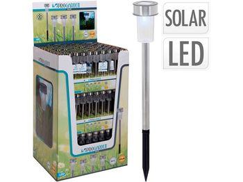 """Фонарь на солнечной батарее """"Гвоздь"""" D4.6cm, H36.5cm, нерж с"""