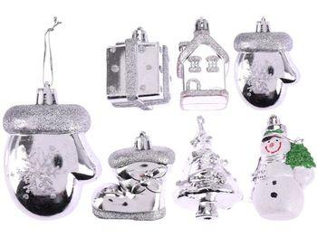 Набор украшений елочных 2X5cm, серебрянный, 6 дизайнов