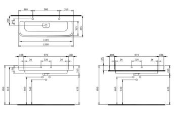 Раковина Scala двойная 120cm