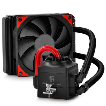 "DEEPCOOL Liquid Cooler  ""CAPTAIN 120 EX"", Socket 775/1150/1151/1155/2011 & FM2/AM3, up to 150W, 1x TF120 fan with Red LED :120х120х25mm, 120mm aluminum fins, fans: 500~1800rpm, pump: 2200rpm, 17.6~31.3dBA, 76.52CFM, 4 pin, Hydro Bearing, Copper base"
