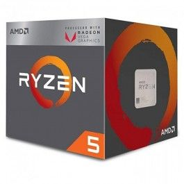 AMD Ryzen 5 2400G, Socket AM4, 3.6-3.9GHz (4C/8T), 4MB L3, Integrated Radeon Vega 11 Graphics, 14nm 65W, BOX (with Wraith Stealth 65W Cooler)