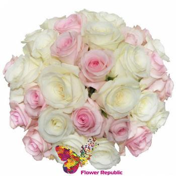cumpără Buchet de mireasa clasic de trandafiri albi si roz. în Chișinău