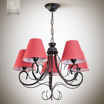 N&B Light Люстра Женева 6205-1 черный глянец/ красный