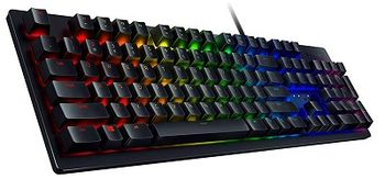 RAZER Huntsman US / Opto-Mechanical Gaming Keyboard (Razer Opto-Mechanical Switch™), Key stabilizer bar, Aluminum matte top plate, Razer hypershift, 10-key rollover, on-the-fly macro, device lighting effects powered by Razer Chroma™, Synapse 3, USB