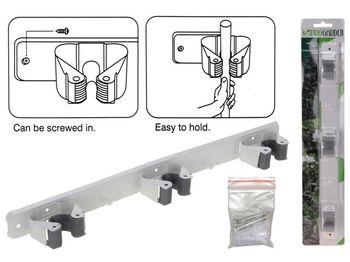 Suport de perete cu 3 clipuri pentru maner mop/perie, metal