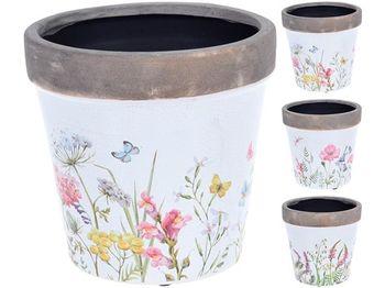"""Вазон керамический """"Трава и цветы"""" D16cm,H15.8cm"""