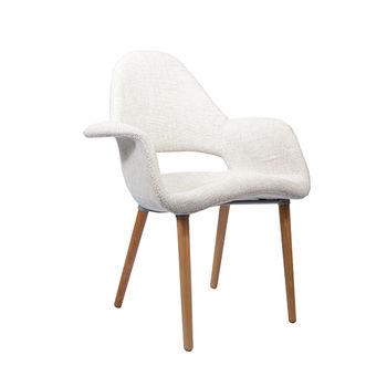 купить Мягкий стул с деревянными ножками, 730x610x940 мм, белый в Кишинёве