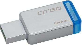 64GB USB3.1 Kingston DataTraveler 50 64GB Silver/Blue, USB 3.1, Metal casing, Compact, lightweight, capless design, (Read 110 MByte/s, Write 15 MByte/s)