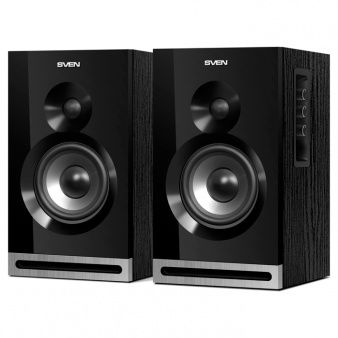 "SVEN SPS-625 Black,  2.0 / 2x20W RMS, headphone jack, wooden, (3""+1"")"
