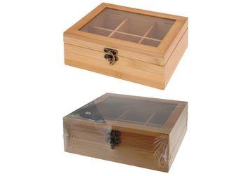 Коробка для чая 6 ячеек, 21X16X7.8cm, бамбук