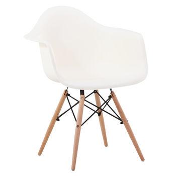 купить Пластиковый стул с деревянными ножками, 640x600x450x810 мм, белый в Кишинёве