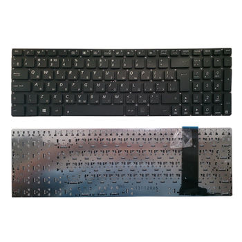 "Keyboard Asus N550 N56 N76 N750 Q550 R552 U500 w/o frame ""ENTER""-big ENG/RU Black"