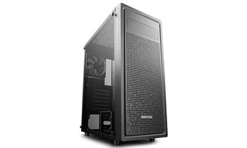 "DEEPCOOL ""E-SHIELD"" ATX Case, with Side-Window (full sized 4mm thickness), without PSU, 1x120mm rear fan, Square-hole Array style front panel, Magnetic dust proof net on top, Bottom mounted PSU, VGA Compat.: 370mm, 1xUSB3.0, 2xUSB2.0 /Audio, Black"