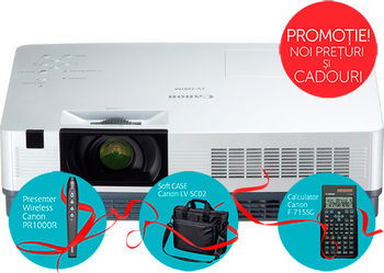 "MMProjector Canon LV-7297A + Gift Kit, 3xLCD (0.55""), 2600 Lumen (6000 hours), 2000:1, 4:3, 1024x768 (XGA,up to WUXGA / HD 1080p/i), 1.2x Zoom Lens, Ultra-quiet 29dbA, 10W Speaker, Auto Keystone Correction, LAN, HDMI, RGB in/out, RCA, S-Video, NSHA"