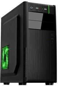 HPC B-28  ATX Case, (500W, 24 pin, 2xSATA, 12cm fan), 2xUSB2.0 / HD Audio, Black + Green decoration