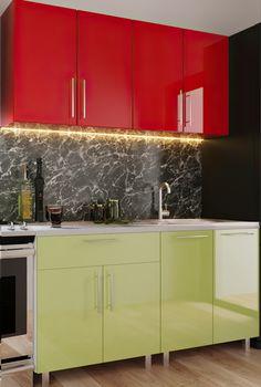 Кухонный гарнитур Bafimob Mini (High Gloss) 1.2m Red/Green