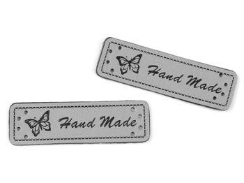Eticheta din piele ecologică Handmade / gri