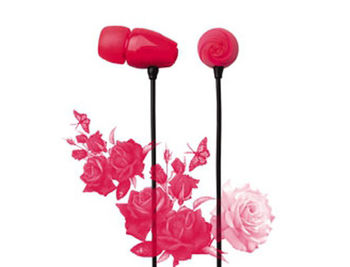 "E11017 ELECOM ""Rose"" Flower Shaped Stereo Headphones (Red), 20 Hz to 20 kHz, 16 Ohm, 97 dB/1 mW (mini casti/мини наушники)"
