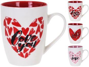Чашка фарфоровая 320ml Love, внутри разных цветов