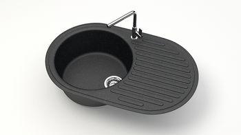 купить Матовые кухонные мойки из литьевого мрамора  (черный.) F011Q4 в Кишинёве